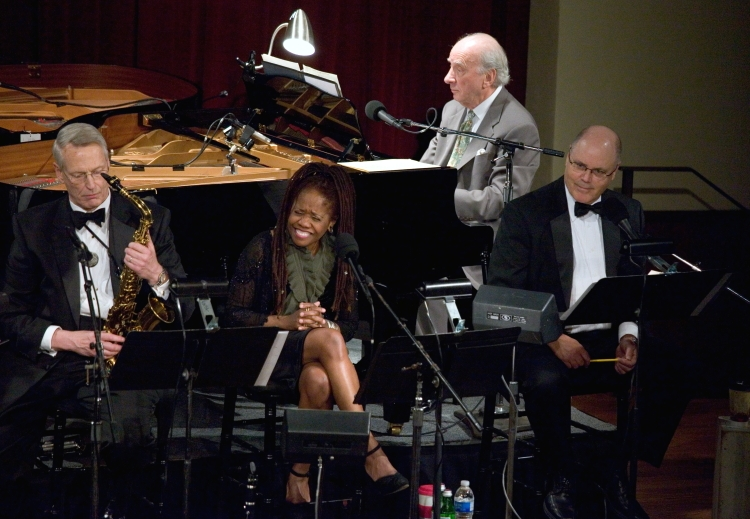 Ron Hockett, Howard Elkins, Catherine Russell and host David Holt. Pearl Stable 2010 Photo by Jamie Karutz Swing era bandleader Luis Russell and his d...
