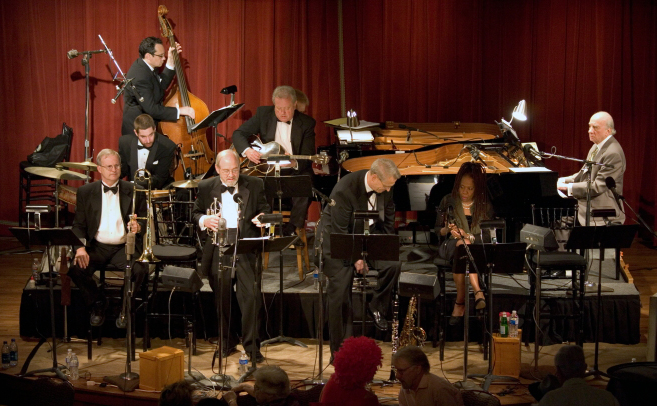 The Jim Cullum Jazz Band with Catherine Russell and Dick Hyman, 2010 Pearl Stable. Photo by Jamie Karutz. A jam session is as much an act of improvi...